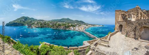 Fotomural Landscape with Porto Ischia, view on Aragonese Castle, Ischia island, Italy