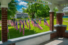 Memorial Day Flags Displayed Around Gazebo In Small Upstate NY Town