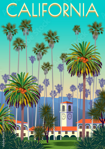 A city park in California with palm trees, yuccas, houses and mountains in the background.
