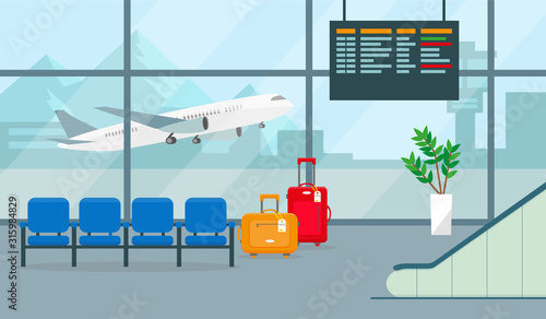 Fotografering Airport hall or waiting room. Vector illustration.
