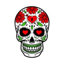 Day Of The Dead Skull. Skull Sugar Flower.