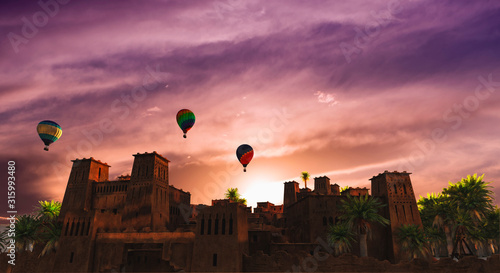 village in the desert with aerostatic balloons in the sky Wallpaper Mural