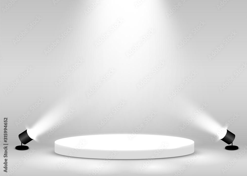 Fototapeta Stage Podium Scene for Award Ceremony illuminated with spotlight. Award ceremony concept. Stage backdrop.