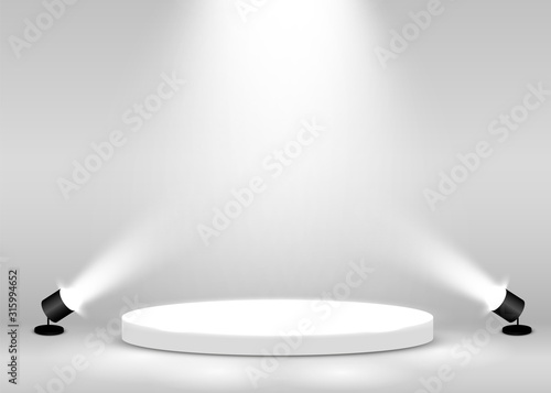 Stage Podium Scene for Award Ceremony illuminated with spotlight. Award ceremony concept. Stage backdrop. - 315994652