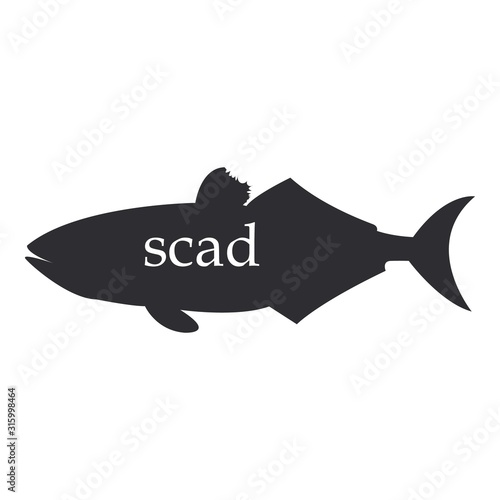 The figure shows a scad fish black silhouette. Canvas-taulu