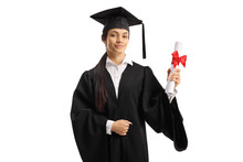 Young Woman In A Graduation Go...