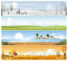Landscape Natural Backgrounds Of Four Seasons. Winter Wonderland,Spring Green Field,Sunny Day Sea Beach In Summer,Autumn With Farm Field. Set Cartoon Flat Design 4 Seasons Background Illustration