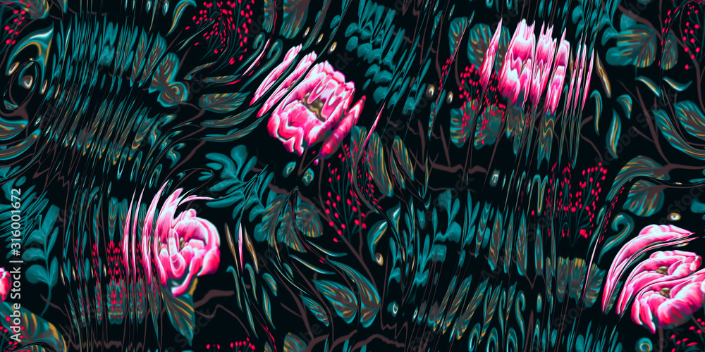 Floral techno glitch surreal flower noisy saturated fantasy future chaos digital effect graphical motif design. Seamless repeat raster jpg pattern swatch.