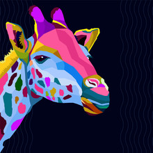 Colorful Giraffe Pop Art Portrait Vector Illustration,can Be Used To Design For T-shirt, Card, Poster, Invitation. Vector Illustration