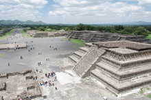 View From The Pyramid Of The Moon, A Square And The Avenue Of The Dead, In Teotihuacan, Mexico