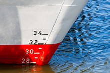 Red And White Ship Hull With W...