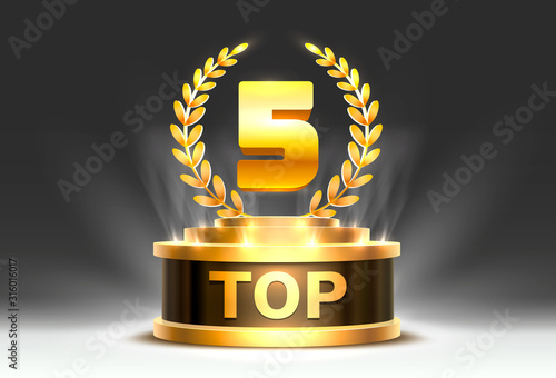 Fotografia Top 5 best podium award sign, golden object.