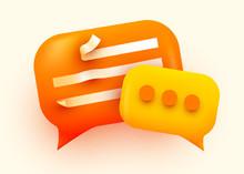 3d Chat Bubble. Talk, Dialogue, Messenger Or Online Support Concept. Concept.