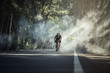 canvas print picture - Asian men are cycling road bike in the morning