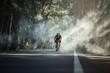 Leinwanddruck Bild - Asian men are cycling road bike in the morning