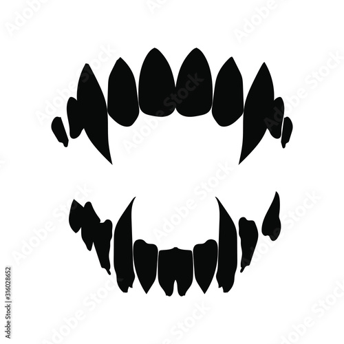 vampire teeth vector isolated on white background Canvas
