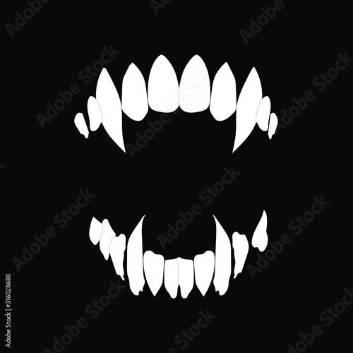 Fotografia Vampire teeth vector isolated on black background