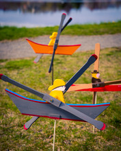 Wooden Whirligig Fisherman And Boat