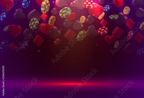 Poker chips and cards casino banner. Isolated on gold background. Fototapet