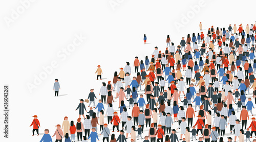 Obraz Large group of people on white background. People communication concept. - fototapety do salonu