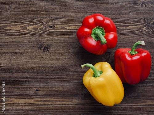 신선한 유기농 채소 노란색과 빨간색 파프리카 Fototapet
