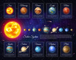 Realistic solar system with planets and satellites. Astronomy and astrophysics banner with nine planet in deep space. Galaxy discovery and exploration. Colorful planetary system vector illustration.