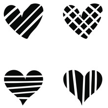 Heart Collection Icon, Love Symbol, Isolated On White, Vector