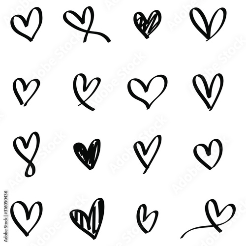 Black heart collection icon, love symbol, isolated on white, vector Fototapeta