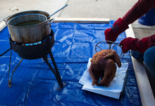 Homemade Deep Fried Turkey For Thanksgiving Outside At Home