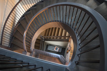 View From Above Of Spiraling Staircase