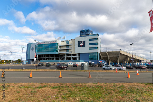 East Hartford, CT/ USA - October 18, 2019: Pratt & Whitney Stadium at Rentschler Field, University of Connecticut Huskies