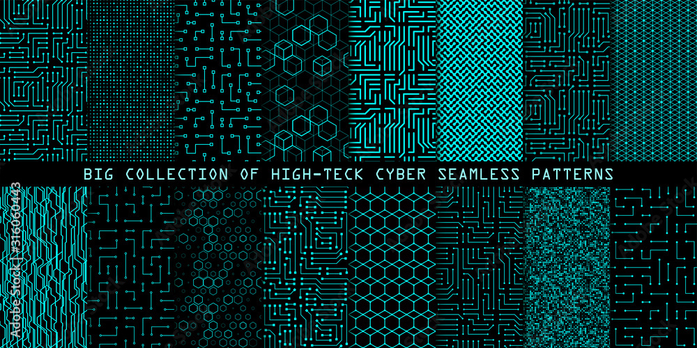 Fototapeta Set of seamless cyber patterns. Circuit board texture. Collection of digital high tech style vector backgrounds