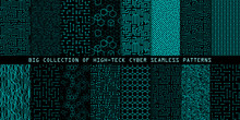 Set Of Seamless Cyber Patterns. Circuit Board Texture. Collection Of Digital High Tech Style Vector Backgrounds