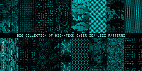 Fototapeta Set of seamless cyber patterns. Circuit board texture. Collection of digital high tech style vector backgrounds obraz