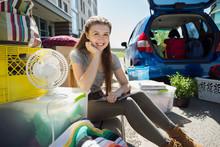 Portrait Confident College Student Moving Into College Dorm
