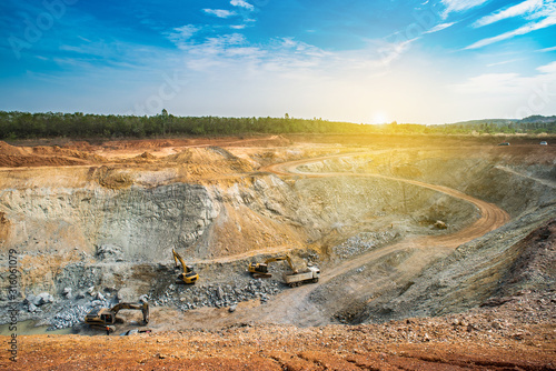 Aerial view of opencast mining quarry with lots of machinery at work - view from above Tapéta, Fotótapéta
