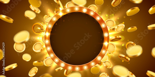 Fotografiet Casino lamp frame with gold realistic 3d coins background.