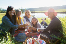 Portrait Smiling Women Toasting Wine Glasses Sunny Grass