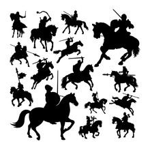 Knight On Horse Silhouettes. G...