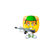 Chinese Gold Drum Carton Character In An Army Uniform With Machine Gun