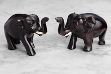 Two Wood Carved Elephants With...