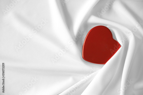 heart red  on white fabric cotton background, valentine's day concept Canvas Print