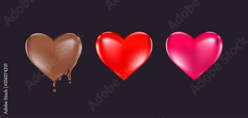 Fototapeta Valentine's day heart design,Big Red Heart, Chocolate heart, Pink Heart Vector illustration obraz
