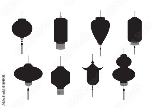 Fototapeta Set of hanging silhouette Chinese lanterns isolated on white background,Vector illustration. obraz