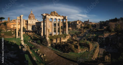 Fotomural Ancient ruins of Roman Forum in Rome, Italy