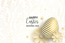 Happy Easter Egg With Flowers. Happy Easter Template With Gold Eggs, Frame, Pink Flower. Vector Illustration. Design Layout For Invitation, Card, Menu, Flyer, Banner