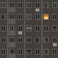 Windows At Night. Vector Image...