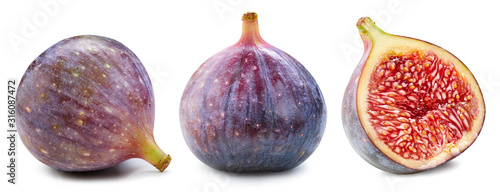 Figs isolated on white. Ripe fresh fig half Clipping Path. Figs collection - 316087472