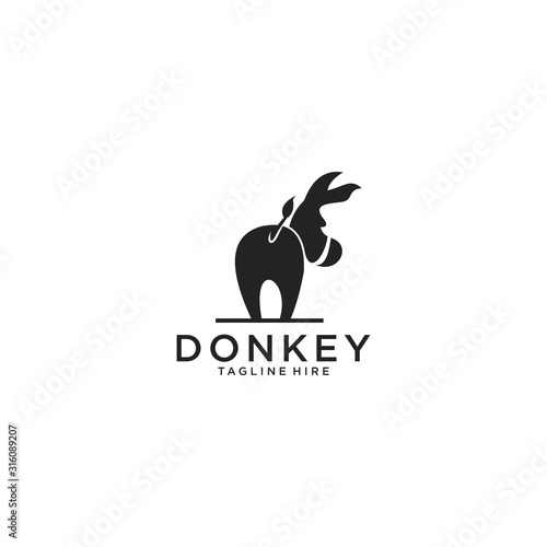 crazy donkey silhouette logo vector download Fototapete