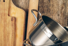 Set Of Dishware Against Old Wo...